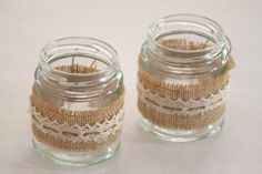 Hessian & Lace Glass Jars Tealight Holders (Country / Rustic / Vintage Wedding Props Decor) Australia