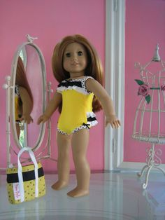 Swimsuit and beach bag with pockets  made to fit 18 by MenaBella, $15.00