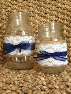 #RUSTIC WEDDING DECORATIONS burlap, lace, and blue ribbon. PERFECT!!!