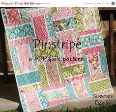 SALE PDF Quilt Pattern Pinstripe Layer Cake Squares