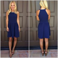 Alexandria Bejeweled Dress - NAVY | Dainty Hooligan Boutique