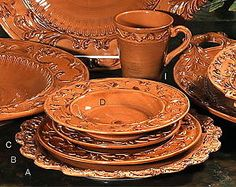 tuscan dinnerware | Details about Tuscan Horchow Paprika Burnt Orange Dinnerware 16 pc . & OperaNova 16-Piece