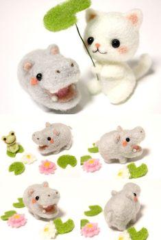 Needle felted felt felting cat kitty neko hippo hippopotamus frog froggy kawaii #feltedcat #feltanimalsdiy