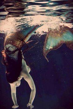 Brown Hair Mermaid underwater  blue & copper