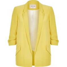 River Island Yellow ruched sleeve blazer (1 675 ZAR) ❤ liked on Polyvore featuring outerwear, jackets, blazers, tops, chaqueta, yellow blazer, woven jacket, yellow blazer jacket, beige blazer and beige jacket