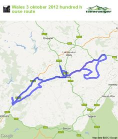 Greenlaning / Off Road Driving trail map. Wales 3 oktober 2012 hundred house route