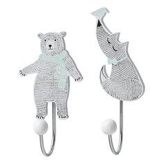 Bloomingville Kinderzimmer-Kleiderhaken 'Bär & Fuchs' mint/schwarz, 2er Set - im Fantasyroom Shop online bestellen oder im Ladengeschäft in Lörrach kaufen. Besuchen Sie uns!