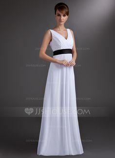 A-Line/Princess V-neck Floor-Length Chiffon Charmeuse Bridesmaid Dress With Sash (007001859)