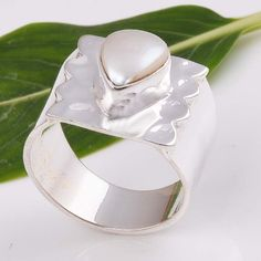 925 SOLID STERLING SILVER EXCLUSIVE PEARL RING 6.48g DJR5911 #Handmade #Ring