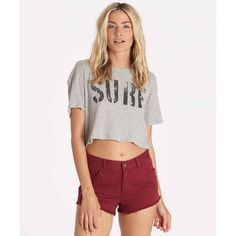 Billabong Women's Second Glance Tee ($12) ❤ liked on Polyvore featuring tops, t-shirts, dark athletic grey, knit tops, grey t shirt, billabong tops, gray t shirt, gray top and crop top