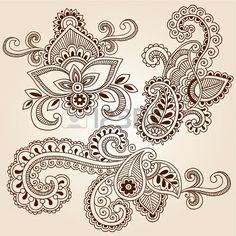 Dessinés à la main de henné Mehndi Paisley Fleurs Doodles florale abstraite Vecteur Design Elements Illustration photo