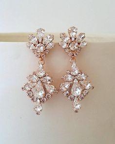 Bridal earrings,Rose gold earrings,Crystal chandelier earrings,Wedding earrings,Bridal earrings,Vintage earrings,Swarovski Bridal jewelry