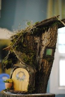 Build a house for your garden fairies. Start with a precut stump and  items collected from nature.