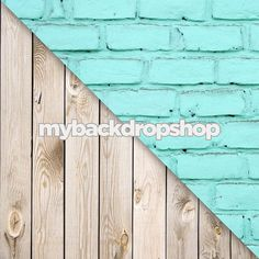 Combo - Two 2ft x 2ft  Photography Backdrop and Floor Drop - Turquoise Blue Brick Wall / White Plank Wood Floor - Items 421 & 157  $20.49
