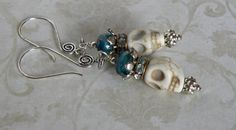 Day of the Dead Handmade Beaded Earrings by bdzzledbeadedjewelry Jewelry Design Earrings, Beaded Earrings, Beaded Bracelets, Jewelry Ideas, Unique Jewelry, Handmade Beaded Jewelry, Handmade Gifts, Beautiful, Etsy