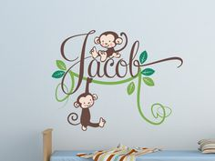 Kids Name Decal - Monkeys Vine and Leaves - Personalized Childrens Wall Decal. $48.00, via Etsy.