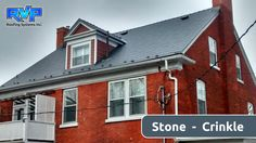 """Even a cold gloomy day doesn't scare our Crinkle Grey roof called """"Stone"""".  This century home in Ontario gets a new permanent roof to help it through another 100 yearsCheck out more at www.rvp-roofing.com. Don't forget to like and pin! #RVP #highstrengthsteel #permanentroof #armadura Gloomy Day, Metal Roof, Ontario, Don't Forget, Homes, Cold, Steel, Grey, Armour"""