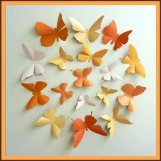 3D Wall Butterflies 15 Pumpkin Light Mustard Light by BugsLoft, $25.00