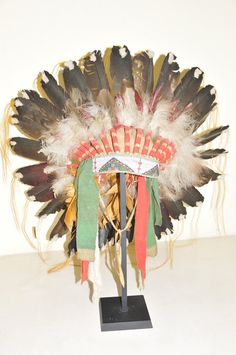 Sioux-(eagle feathers and hide bonnet)-1870
