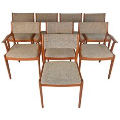 Full Set of Mid-Century Modern Danish Teak Dining Chairs   From a unique collection of antique and modern dining room chairs at https://www.1stdibs.com/furniture/seating/dining-room-chairs/