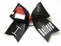 "Santa ""I Believe"" Holiday Cheer Bow Soccer Hair Bows, Cheerleading Hair Bows, Cheer Bows, Glitter Hair, Sparkles Glitter, Girl Hair Bows, Girls Bows, Ribbon Flip Flops, Boutique Hair Bows"