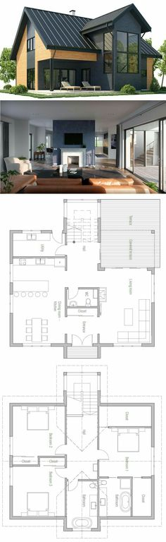 Narrow House Plan plans maisons idées Pinterest Narrow house - exemple des plans de maison