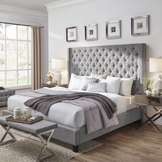 Buy Unique Bargains Borchers Upholstered Platform Bed By Three Posts Room Ideas Bedroom, Bedroom Colors, Home Decor Bedroom, Bedroom Furniture, Bedroom Designs, Bed Room, Grey Bedroom Design, Bedroom Tv, Bedroom Quotes