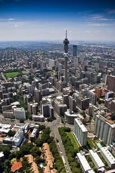 Aerial view of Johannesburg Central Business Dis , Aerial View, Design Process, Paris Skyline, Skyscraper, Scenery, Stock Photos, Business, Travel, Image