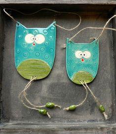 Nursery Decor Owl Brothers Family Ornament Woodland Ceramic Wall Art Pottery Aqua and Green - Set of 2