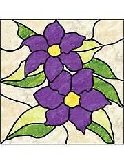 Bring the outdoors in with this beautiful stained glass floral bouquet pattern. You can make the Clematis flowers matching or even make each petal a different color. Have fun designing with this pattern. Stained Glass Quilt, Stained Glass Flowers, Faux Stained Glass, Stained Glass Lamps, Stained Glass Designs, Stained Glass Panels, Stained Glass Projects, Stained Glass Patterns, Mosaic Designs