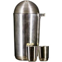 Jean Puiforcat 1935 Filleted Silver Shaker and Shots.