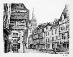 Quimper - France. Black ink drawing by Nicolas Jolly. #drawing #ink #blackandwhite #art #village