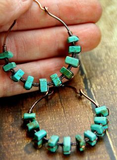Boho Style - Copper Wrapped Turquoise Cube Beaded Hoop Earrings