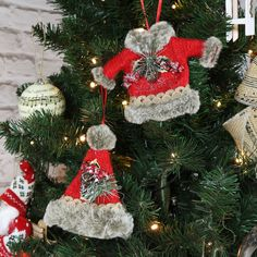 Set of 2 Hanging Christmas Outfits Tree Decorations