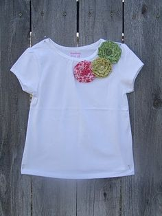 .hand made flowers to little girl T-shirts!