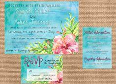 Printable Beach Themed Wedding Invitation Set