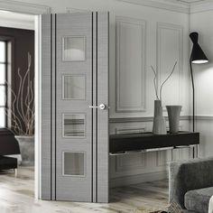Bespoke Door - Flush Dark Grey Inlay - American Light Grey Ash Veneer.    #moderndoor #glazeddoor