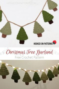 Crochet Christmas Decorations, Christmas Tree Garland, Christmas Tree Pattern, Crochet Christmas Ornaments, Crochet Decoration, Christmas Crochet Patterns, Holiday Crochet, Christmas Knitting, Crochet Gifts