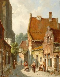 Adrianus Eversen (Amsterdam 1818-1897 Delft) A Dutch streetview in summer - Dutch Art Gallery Simonis and Buunk Ede, Netherlands.