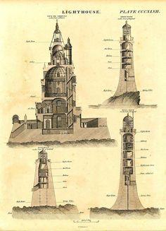 Lighthouses France England &c. c.1820 fine antique engraved engineering print