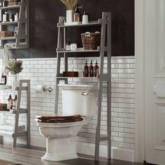 Over Toilet Space Saver With Tiered Ladder Shelves White - RiverRidge : Target Bathroom Ladder, Bathroom Shelf Decor, Wall Shelf Decor, Bathroom Storage Shelves, Shelf Decorations, Bathroom Ideas, Bathroom Inspo, Washroom, Bathroom Lighting