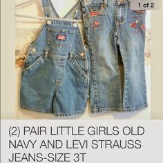 Two pair toddler jeans wear-3t One is Old Navy and one is Levi Strauss- Excellant newer condition.bought to give as a gift but child had already outgrown size!!! Already had them wrapped and tags removed. Partial tags still on both. Old Navy and Levi Strauss Pants