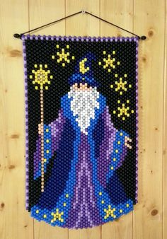 This Beaded Banner is approx. 18 X 12 Very bright and colorful. Looks good on a wall, door or in a window. Would look great for a childs wall. Picture can be seen hanging in either direction. Pony Bead Crafts, Beaded Crafts, Beaded Ornaments, Pony Bead Patterns, Loom Patterns, Beading Patterns, Seed Bead Projects, Beaded Banners, Native Beadwork