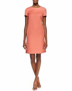 Lafayette 148 New York Drea Short Sleeve Shift Dress & Printed Gauzy Scarf - Neiman Marcus