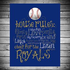 Kansas City Royals House Rules  8x10 INSTANT by CreativeCardstock