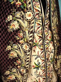 "c 1770-1790s ""Habit a la Francaise"" French Frock Coat and Ivory Silk Embroidered Waistcoat - detail"
