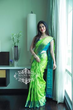 Watch Shamna in Madhuras outfits in today Dhee chamipons in ETV. Wedding Saree Blouse Designs, Wedding Silk Saree, Fancy Blouse Designs, South Indian Bride Jewellery, Bridal Sarees South Indian, Wedding Saree Collection, Sari Dress, Saree Models, Stylish Sarees