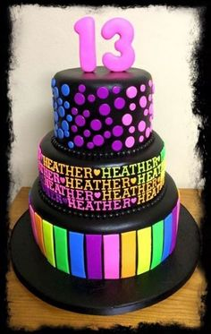 Birthday Cake Ideas For Teens Neon Glow Party 40 Ideas Birthday Cake Ideas For Teens Neon Glow Party 40 Ideas 13 Birthday Cake, 13th Birthday Parties, 14th Birthday, Birthday Ideas, Glow In Dark Party, Glow Party, Disco Party, Bolo Neon, Lila Party