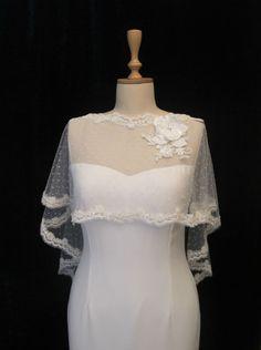 Ivory Lace Bridal Cape, Tulle Shrug, Wedding Tulle Cape, Polka Dot Tulle Capelet, Tulle Wedding Bolero, Bridal Tulle Cape, Lace Bolero by gebridal on Etsy https://www.etsy.com/uk/listing/190377529/ivory-lace-bridal-cape-tulle-shrug