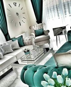 35 Modern And Luxury Living Rooms Design Ideas - Noor . - - 35 Modern And Luxury Living Rooms Design Ideas - Noor . Teal Living Rooms, Living Room Decor Cozy, Home Living Room, Luxury Living Rooms, Cozy Bedroom, Bedroom Ideas, Silver Living Room, Living Spaces, Living Room Turquoise